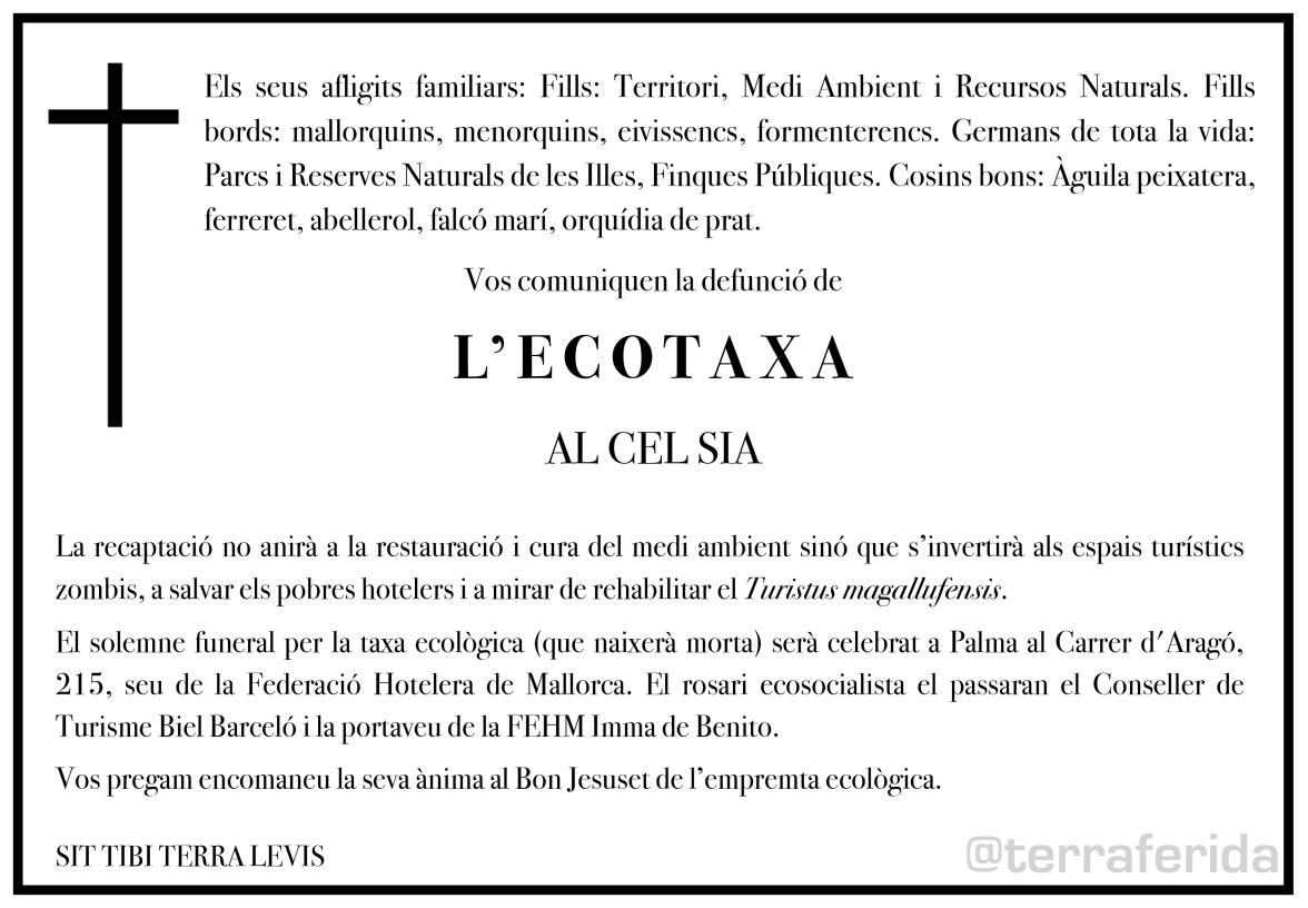 Esquela de l'Ecotaxa @terraferida