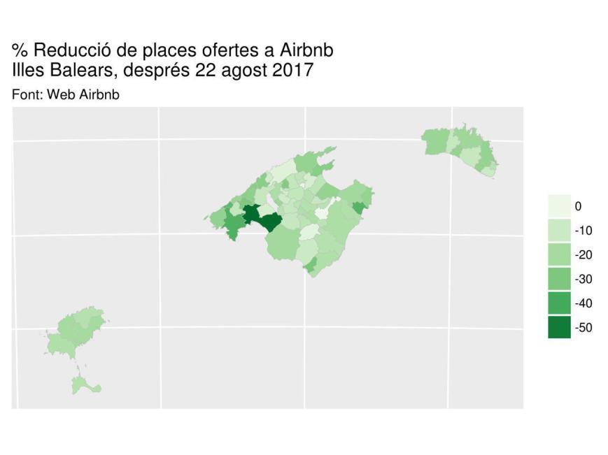 % reducció places airbnb